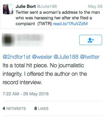 Alleged stalker tries to reach Julie Bort to go on the record to clear his name and defend allegations.
